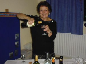 Pat pouring wine